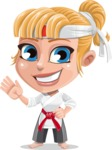 Little Girl with Karate Outfit Cartoon Vector Character AKA Peta - Wave