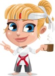 Little Girl with Karate Outfit Cartoon Vector Character AKA Peta - Coffee