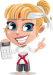Little Girl with Karate Outfit Cartoon Vector Character AKA Peta - Calculator
