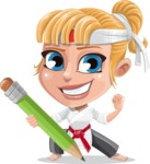 Little Girl with Karate Outfit Cartoon Vector Character AKA Peta - Pencil