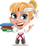 Little Girl with Karate Outfit Cartoon Vector Character AKA Peta - Book 2