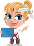 Little Girl with Karate Outfit Cartoon Vector Character AKA Peta - iPad 1