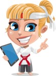 Little Girl with Karate Outfit Cartoon Vector Character AKA Peta - iPad 3