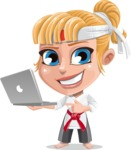 Little Girl with Karate Outfit Cartoon Vector Character AKA Peta - Laptop 1