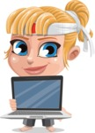 Little Girl with Karate Outfit Cartoon Vector Character AKA Peta - Laptop 2