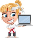 Little Girl with Karate Outfit Cartoon Vector Character AKA Peta - Laptop 3