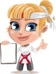Little Girl with Karate Outfit Cartoon Vector Character AKA Peta - Notepad 1