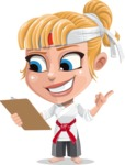 Little Girl with Karate Outfit Cartoon Vector Character AKA Peta - Notepad 2