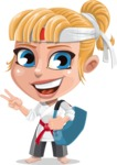 Little Girl with Karate Outfit Cartoon Vector Character AKA Peta - Travel