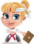 Little Girl with Karate Outfit Cartoon Vector Character AKA Peta - Briefcase 2