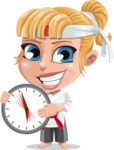 Little Girl with Karate Outfit Cartoon Vector Character AKA Peta - Time Is Yours
