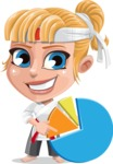 Little Girl with Karate Outfit Cartoon Vector Character AKA Peta - Chart