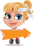 Little Girl with Karate Outfit Cartoon Vector Character AKA Peta - Pointer 2