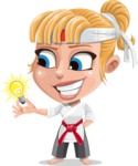 Little Girl with Karate Outfit Cartoon Vector Character AKA Peta - Idea