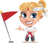 Little Girl with Karate Outfit Cartoon Vector Character AKA Peta - Checkpoint