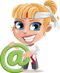 Little Girl with Karate Outfit Cartoon Vector Character AKA Peta - E-mail