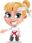 Little Girl with Karate Outfit Cartoon Vector Character AKA Peta - Show