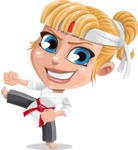 Little Girl with Karate Outfit Cartoon Vector Character AKA Peta - Kick