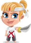 Little Girl with Karate Outfit Cartoon Vector Character AKA Peta - Sword