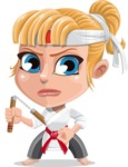 Little Girl with Karate Outfit Cartoon Vector Character AKA Peta - Nunchucks 1