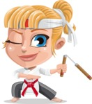 Little Girl with Karate Outfit Cartoon Vector Character AKA Peta - Nunchucks 2