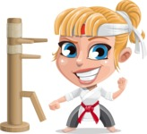 Little Girl with Karate Outfit Cartoon Vector Character AKA Peta - Wooden Dummy