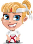 Little Girl with Karate Outfit Cartoon Vector Character AKA Peta - Kneel