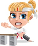 Little Girl with Karate Outfit Cartoon Vector Character AKA Peta - Board breaking