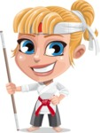 Little Girl with Karate Outfit Cartoon Vector Character AKA Peta - Staff 1