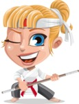 Little Girl with Karate Outfit Cartoon Vector Character AKA Peta - Staff 2