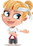 Little Girl with Karate Outfit Cartoon Vector Character AKA Peta - Show 2