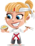 Little Girl with Karate Outfit Cartoon Vector Character AKA Peta - Rice bowl