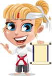 Little Girl with Karate Outfit Cartoon Vector Character AKA Peta - Scroll