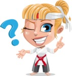 Little Girl with Karate Outfit Cartoon Vector Character AKA Peta - Question