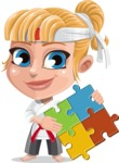 Little Girl with Karate Outfit Cartoon Vector Character AKA Peta - Puzzle