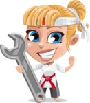 Little Girl with Karate Outfit Cartoon Vector Character AKA Peta - Repair