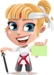 Little Girl with Karate Outfit Cartoon Vector Character AKA Peta - Sign 1