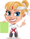 Little Girl with Karate Outfit Cartoon Vector Character AKA Peta - Sign 2