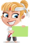 Little Girl with Karate Outfit Cartoon Vector Character AKA Peta - Sign 3