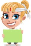 Little Girl with Karate Outfit Cartoon Vector Character AKA Peta - Sign 4