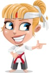 Little Girl with Karate Outfit Cartoon Vector Character AKA Peta - Point