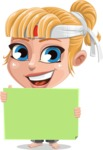 Little Girl with Karate Outfit Cartoon Vector Character AKA Peta - Sign 5