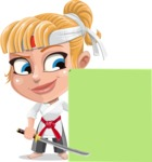 Little Girl with Karate Outfit Cartoon Vector Character AKA Peta - Sign 7