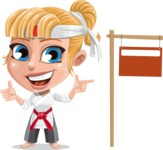 Little Girl with Karate Outfit Cartoon Vector Character AKA Peta - Sign 9