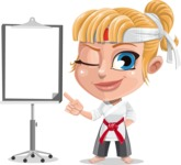 Little Girl with Karate Outfit Cartoon Vector Character AKA Peta - Presentation 1