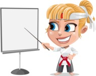 Little Girl with Karate Outfit Cartoon Vector Character AKA Peta - Presentation 2