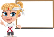 Little Girl with Karate Outfit Cartoon Vector Character AKA Peta - Presentation 3