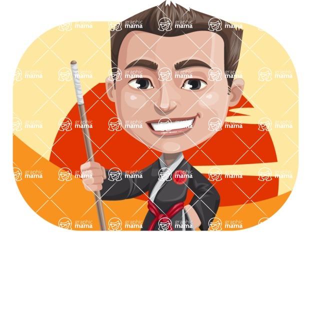 Chinese Karate Man Cartoon Vector Character AKA John Li - Shape 2