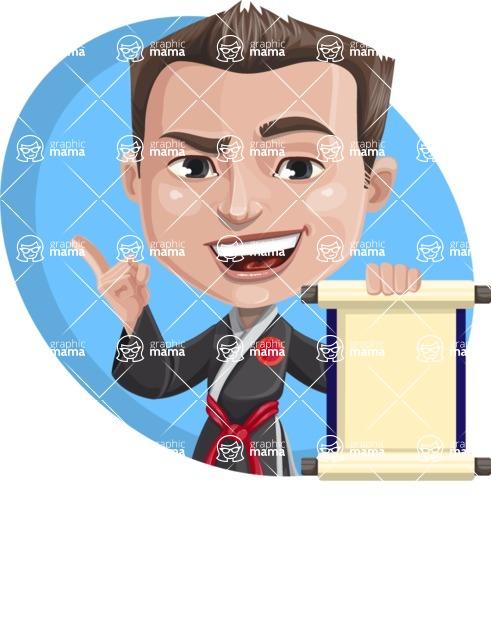 Chinese Karate Man Cartoon Vector Character AKA John Li - Shape 3