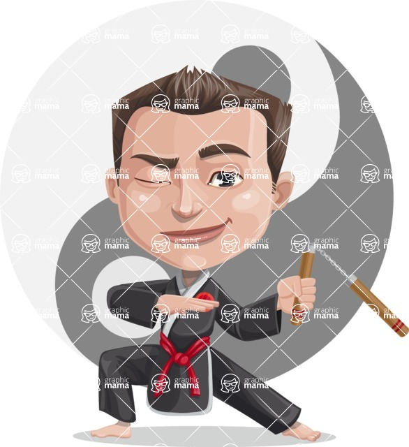 Chinese Karate Man Cartoon Vector Character AKA John Li - Shape 6